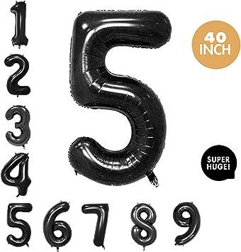Amazon.com: Globos de aluminio con números negros de 40 ...