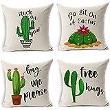 """MIULEE Juego de 4 Lino Cojines Cactus Series Funda de Cojín Almohada Caso de Decorativo Cojines para Sala de Estar sofá Cama Coche 18""""x18"""" Pulgadas 45x45cm"""