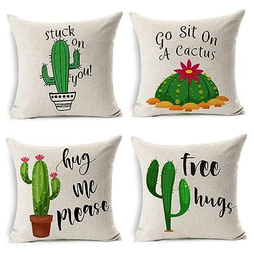 MIULEE Juego de 4 Lino Cojines Cactus Series Funda de Cojín Almohada Caso de Decorativo Cojines para Sala de Estar sofá Cama Coche 18