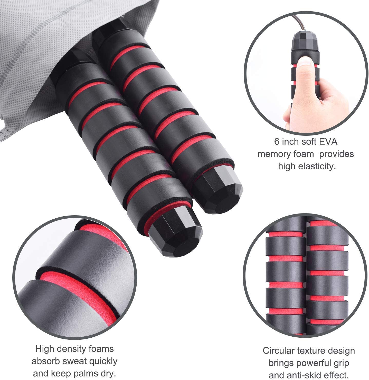 """AQwzh Jump Rope-Free with Ball Bearings Rapid Speed Jump Rope Cable and 6/"""" Memory Foam Handles Ideal, Perfect for Aerobic Exercise Like Speed Training,Endurance Training and Fitness Gym"""