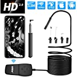 WiFi Endoscope for iPhone and Android,AIMEN 1080P HD Wireless Borescope Inspection Camera Waterproof IP68 with 2.0 Megapixels Snake Camera 8 adjustable LED Light for IOS,Tablet-Black(11.5 FT/3.5m)