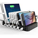 Levin 10-Port USB Charging Station Dock with Built-in Charge Cables(Patented Retractable Design) Organizer for Smart Phones & Tablets, Black