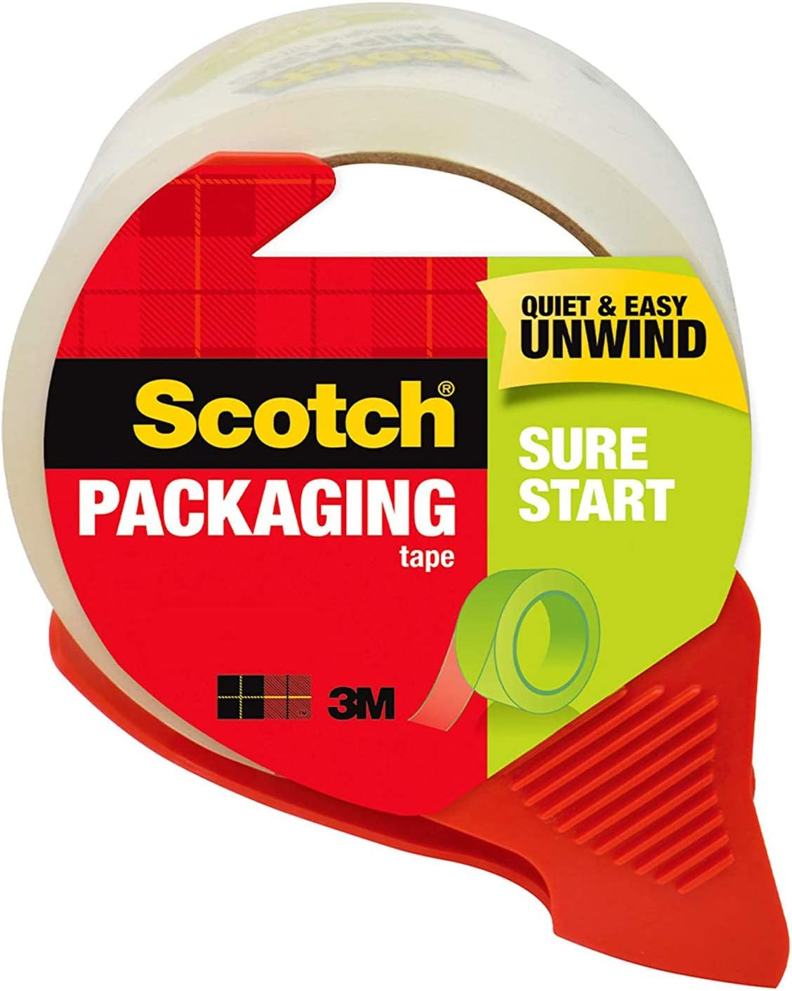 Scotch Sure Start Shipping Tape with Dispenser, 1.88 in. x 38.2 yd., Clear, 1 Dispenser/Pack : Office Products