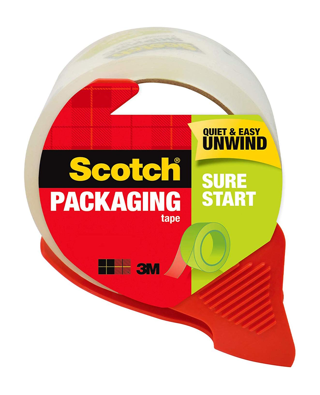 """Scotch Sure Start Packaging Tape, 1.88"""" x 38.2 yd, Designed for Packing, Shipping and Mailing, Engineered to be Easy to Start, 3"""" Core, Clear, 1 Dispensered Roll (3450S-RD)"""