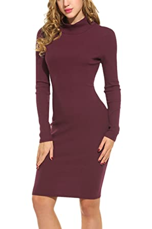 44ce6823bfd8 Hotouch Women s Turtleneck Knit Elasticity Slim Fit Sweater Dress Burgundy S