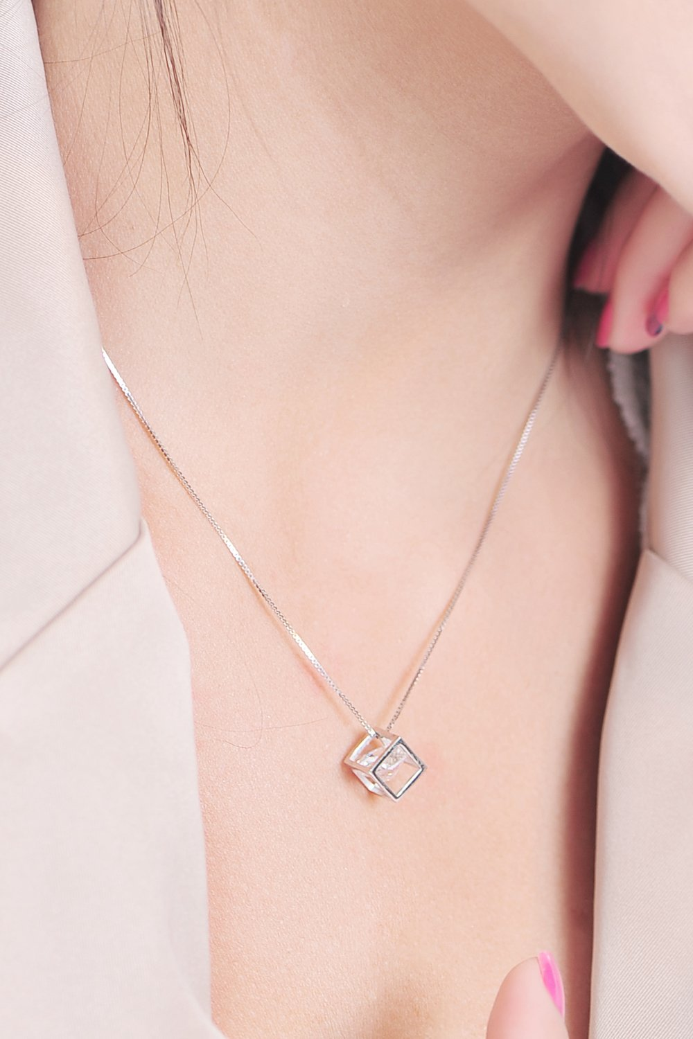 Thai Love Your Unique Cube Clavicle Chain Necklace Pendant Women Girls Short s925 Silver Accessories Women Gift Gift