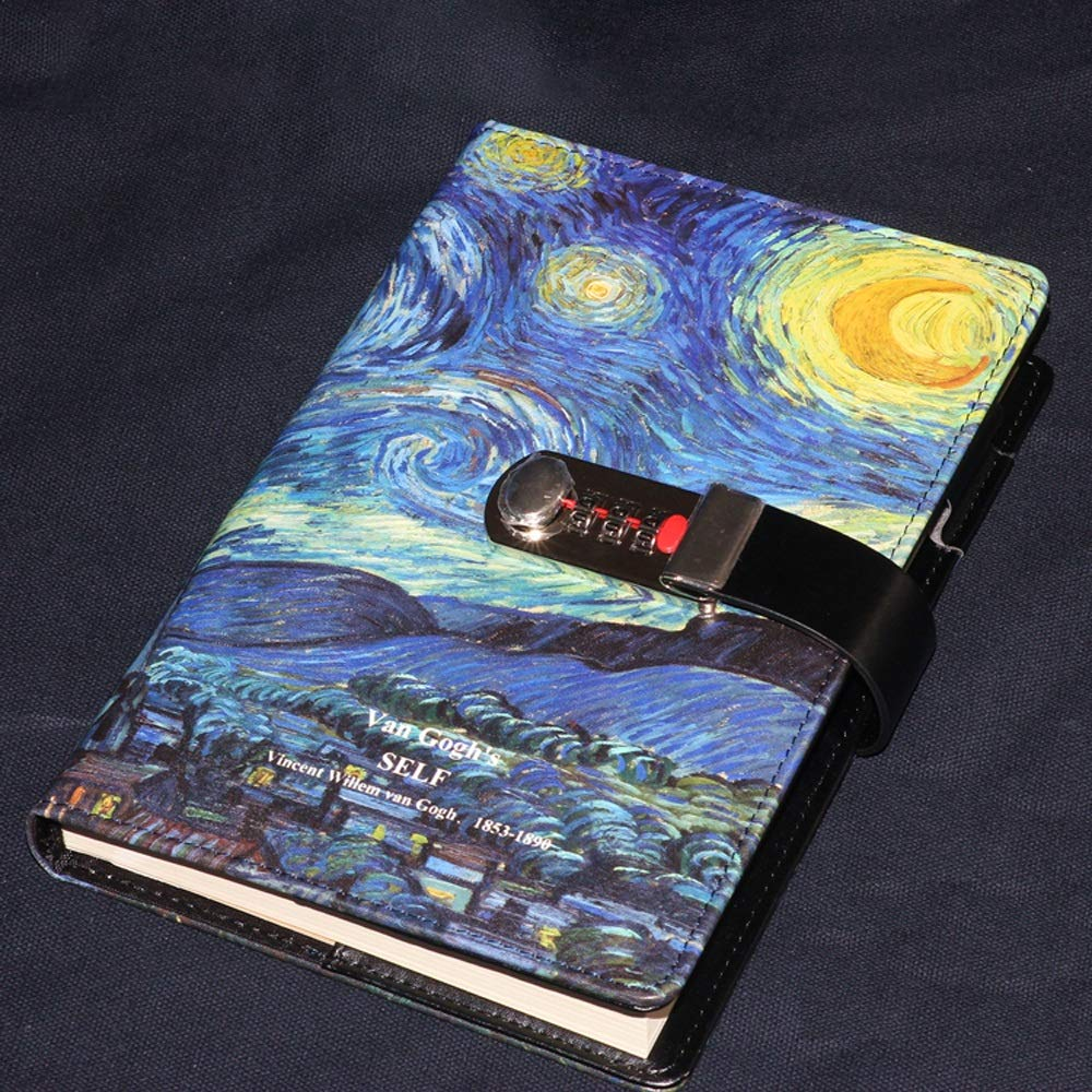 Van Gogh Series PU Leather Diary with Lock, A5 Size Diary with Combination Lock Password Journal Student Stationery Record Book Business Office Notepad