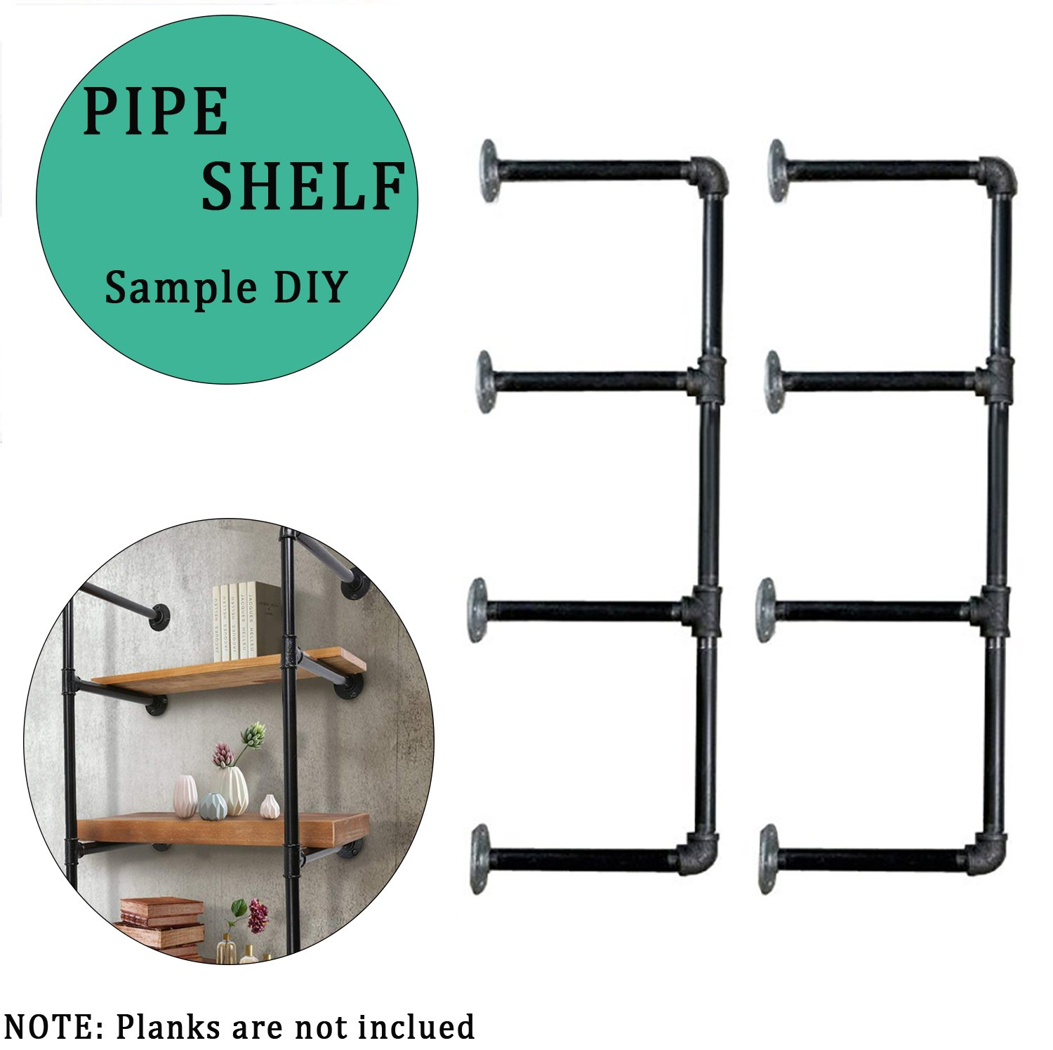 Industrial Retro Wall Mount Iron Pipe Shelf, Brackets DIY Storage Shelving Bookshelf for Home Improvement Kitchen Office Living Room (2pcs)