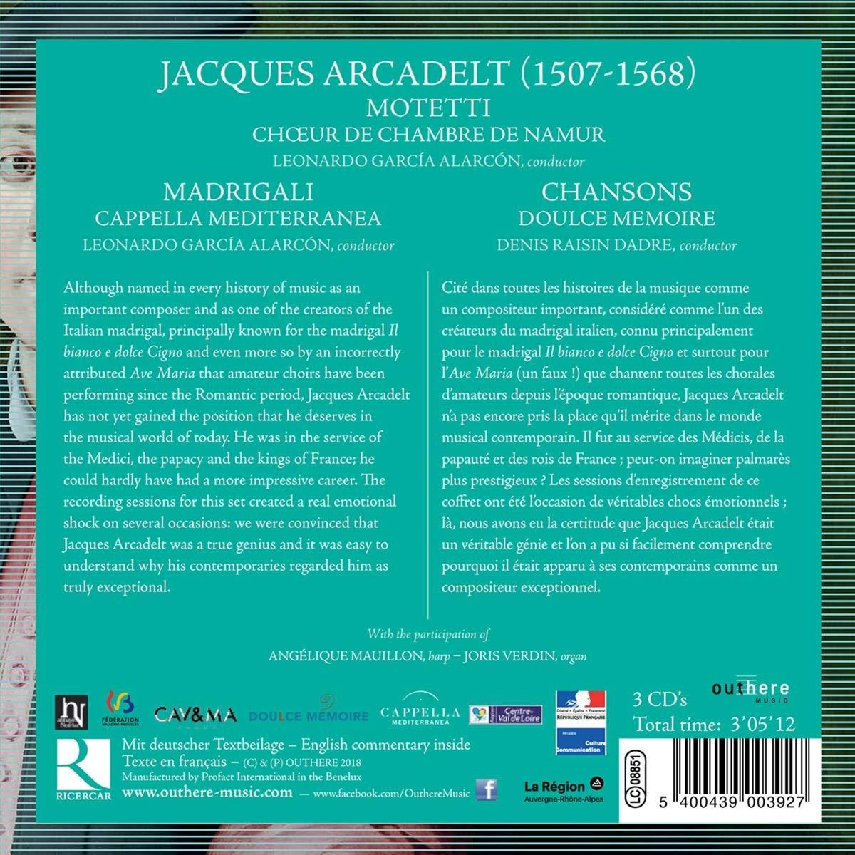 Choeur De Chambre De Namurr Cappella Mediterranea Doulce Memoire Jacques Arcadelt Motteti Madrigali Chansons Amazon Com Music