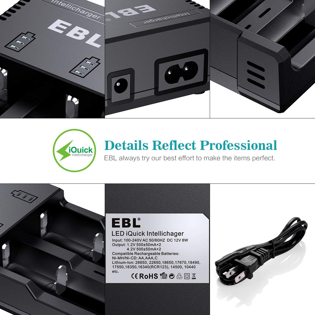 EBL Universal Rechargeable Battery Charger for Ni-MH/Ni-CD AA AAA C Rechargeable Batteries and 3.7V Li-ion Batteries 18650 18490 18350 17670 17500 16340(RCR123) 14500