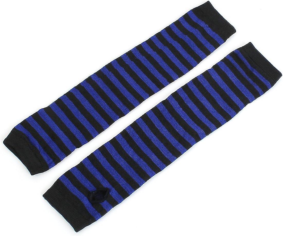 sourcing map Women Black Blue Stripe Print Elbow Length Fingerless Arm Gloves Pair