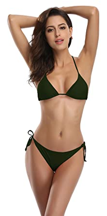 3bca62731c SHEKINI Women's Tie Side Bottom Push up Padded Top Triangle Bikini Bathing  Suit (XSmall,