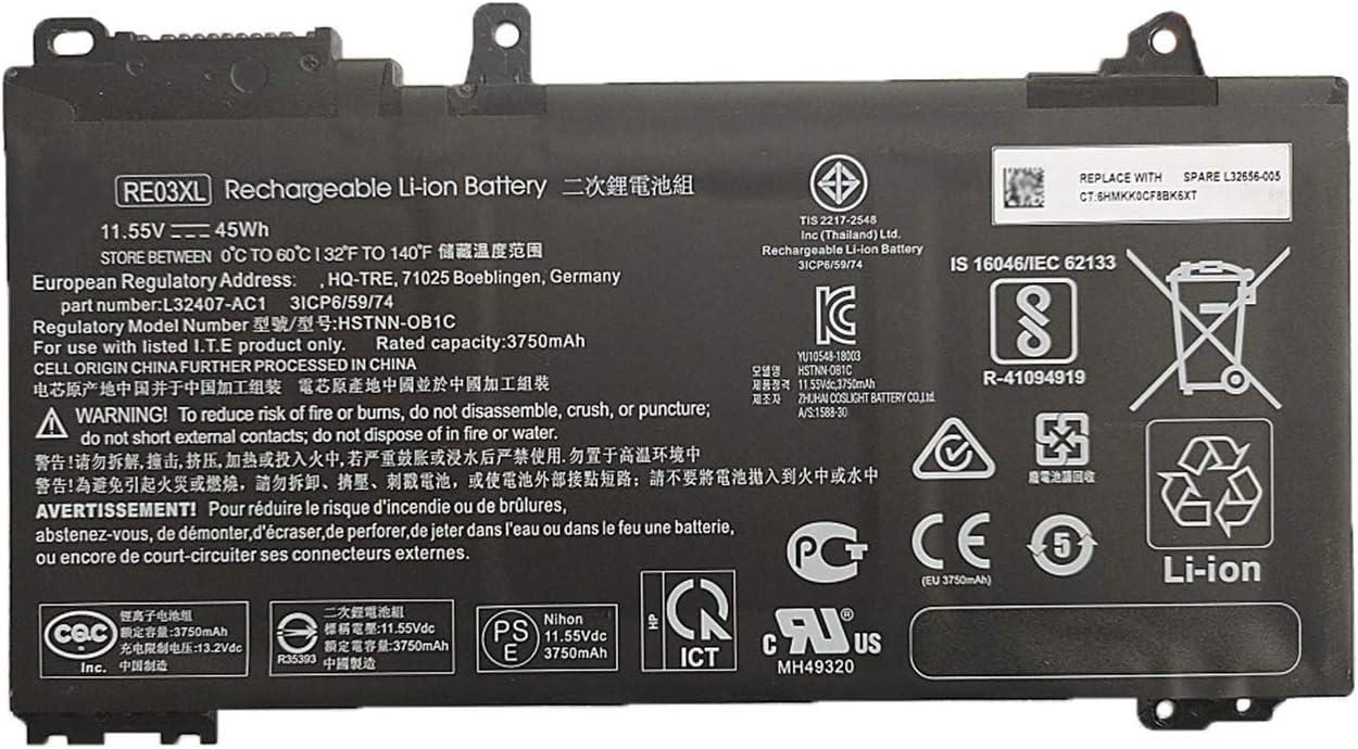 BOWEIRUI RE03XL HSTNN-OB1C L32407-AC1 (11.55V 45Wh 3750mAh) Laptop Battery Replacement for Hp ProBook 450 430 440 445 G6 Series Notebook REO3XL HSTNN-DB9A L32407-2B1
