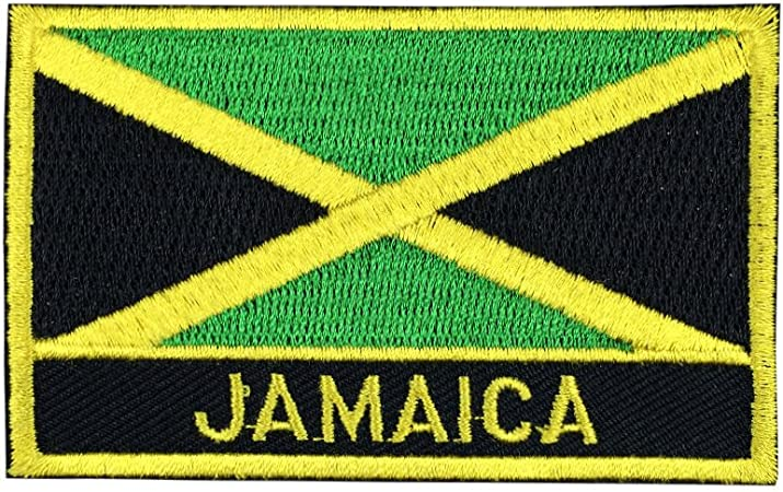 JAMAICAN UK Flag Iron-on Patch Badge Union Jack BLACK GOLD /& GREEN