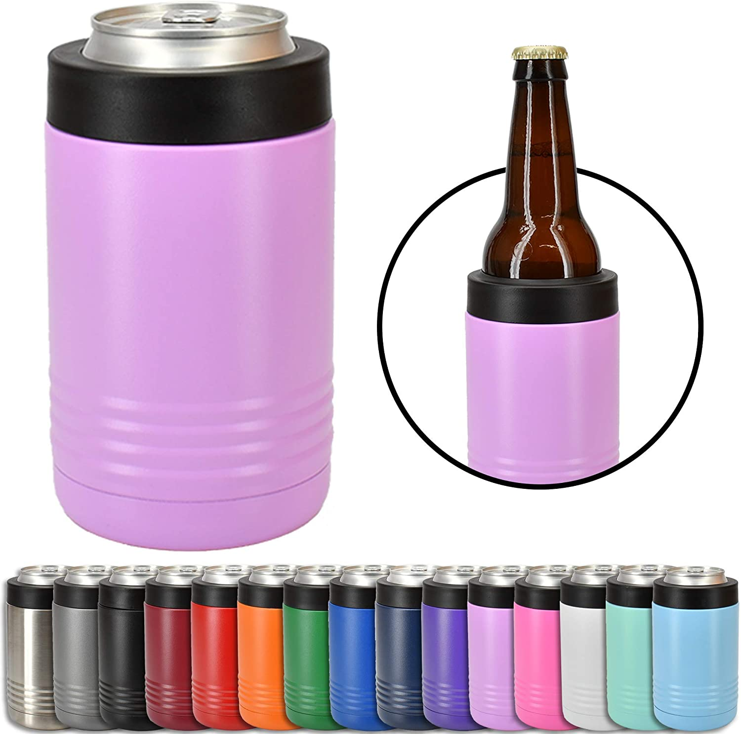 Clear Water Home Goods - 12 oz Stainless Steel Double Wall Vacuum Insulated Can or Bottle Cooler Keeps Beverage Cold for Hours - Powder Coated Light Purple