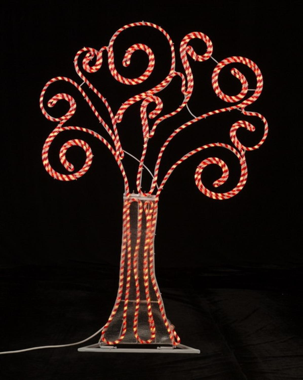 4' Pre-Lit Peppermint Twist Swirl Rope Light Outdoor Yard Art Christmas Tree by Roman