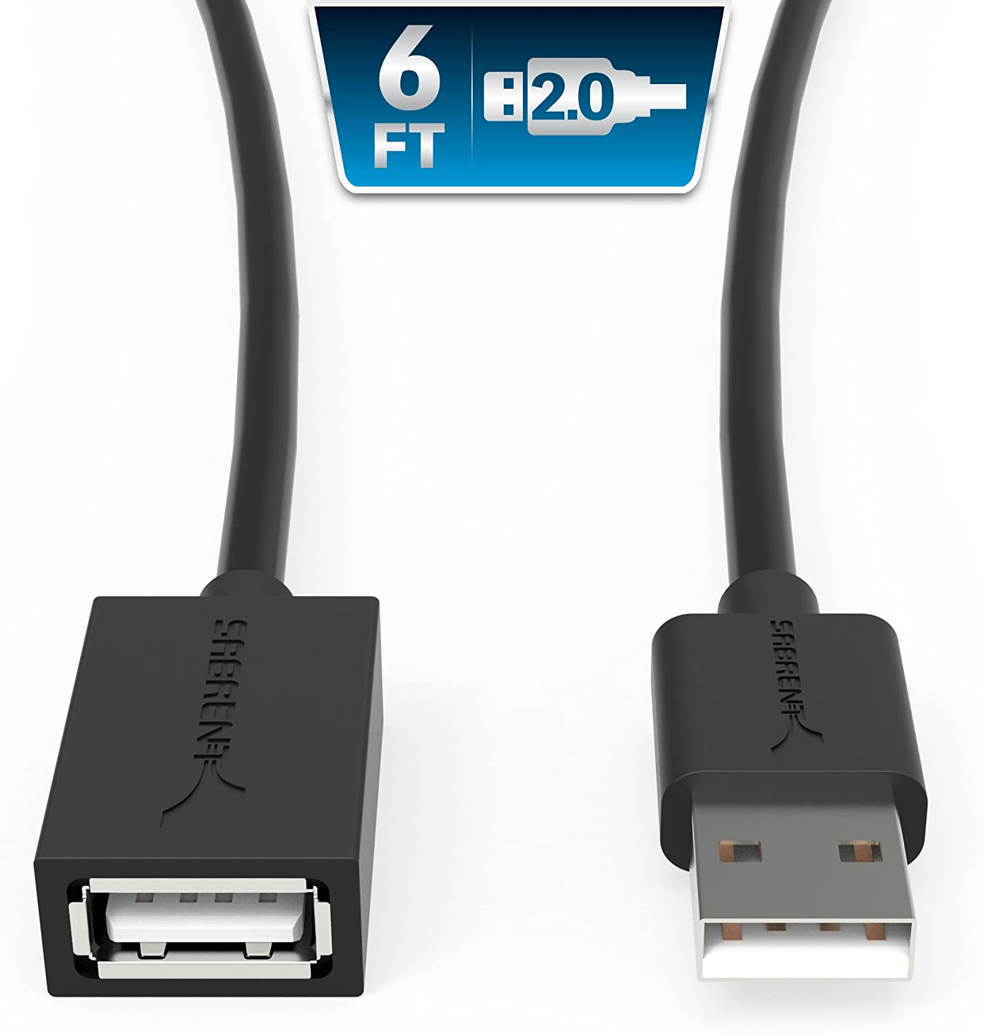 SABRENT 22AWG USB 2.0 Extension Cable - A-Male to A-Female [Black] 6 Feet (CB-2060)
