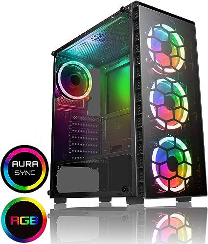 CiT Raider Funda de Juego 4 x Espectro de Halo Ventiladores RGB Vidrio Frontal y Lateral MB Sync: Amazon.es: Informática