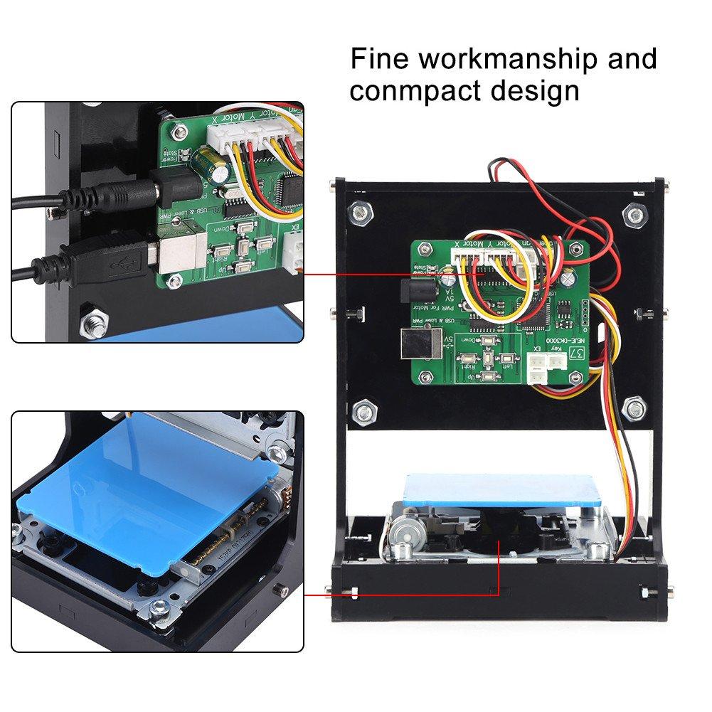 500mW Machine /à Gravure Graveur Laser USB avec Protection Lunettes Outil de Gravure pour Win7//Win8 pour Bois 500mW Cuir Plastique