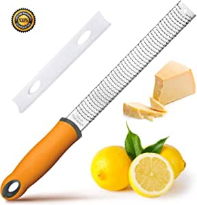 [2019 Upgrade] BYETOO Lemon Zester,Cheese Grater,Kitchen Tool for Parmesan,Citrus,Ginger,Garlic,Nutmeg,Chocolate,Fruits with Razor-Sharp Stainless Steel Blade,Protect Cover.Dishwasher Safe,Yellow