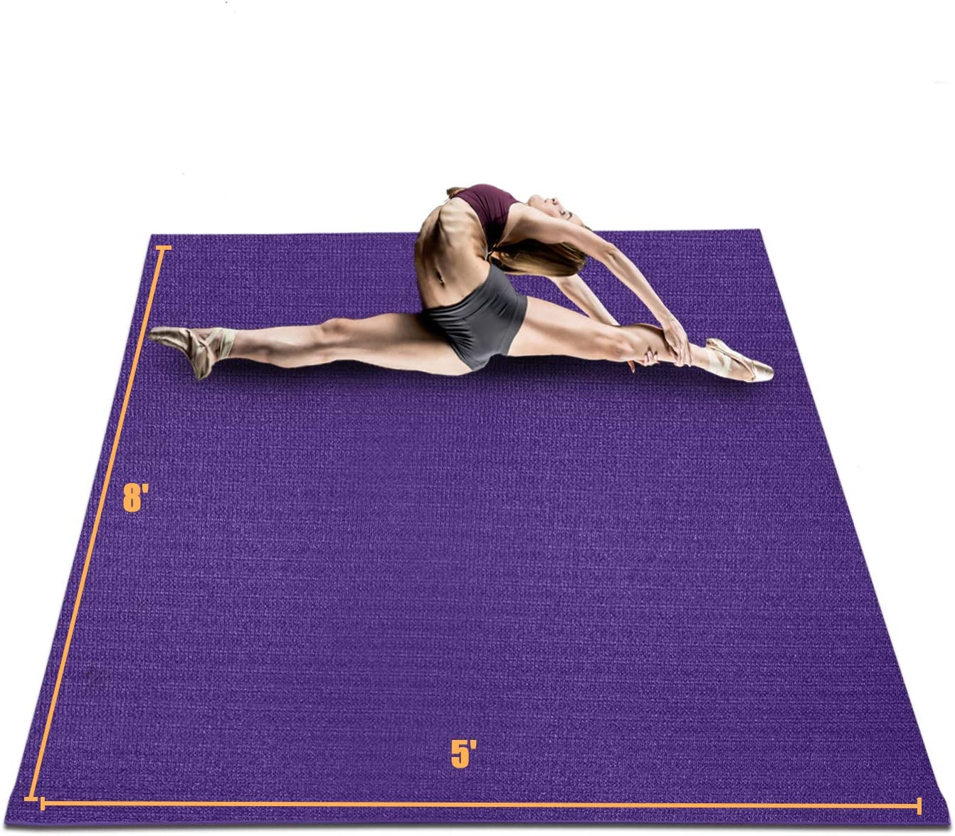 HYD-Parts Large Exercise Mat for Home Workout 8'x5'x7mm, Non-Slip Durable Gym Flooring Mats for Cardio Fitness