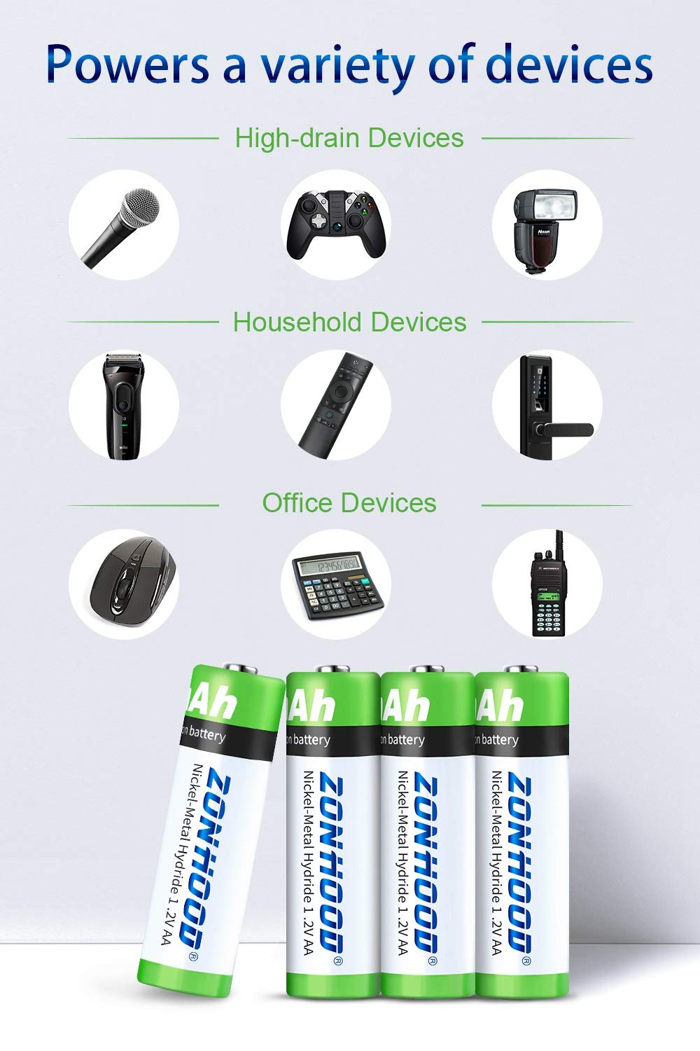 AA Batteries 2800mAh High-Capacity AA Batteries Rechargeable AABatteries 1.2V Ni-MH Low Self Discharge 8pack AA Rechargeable Batteries