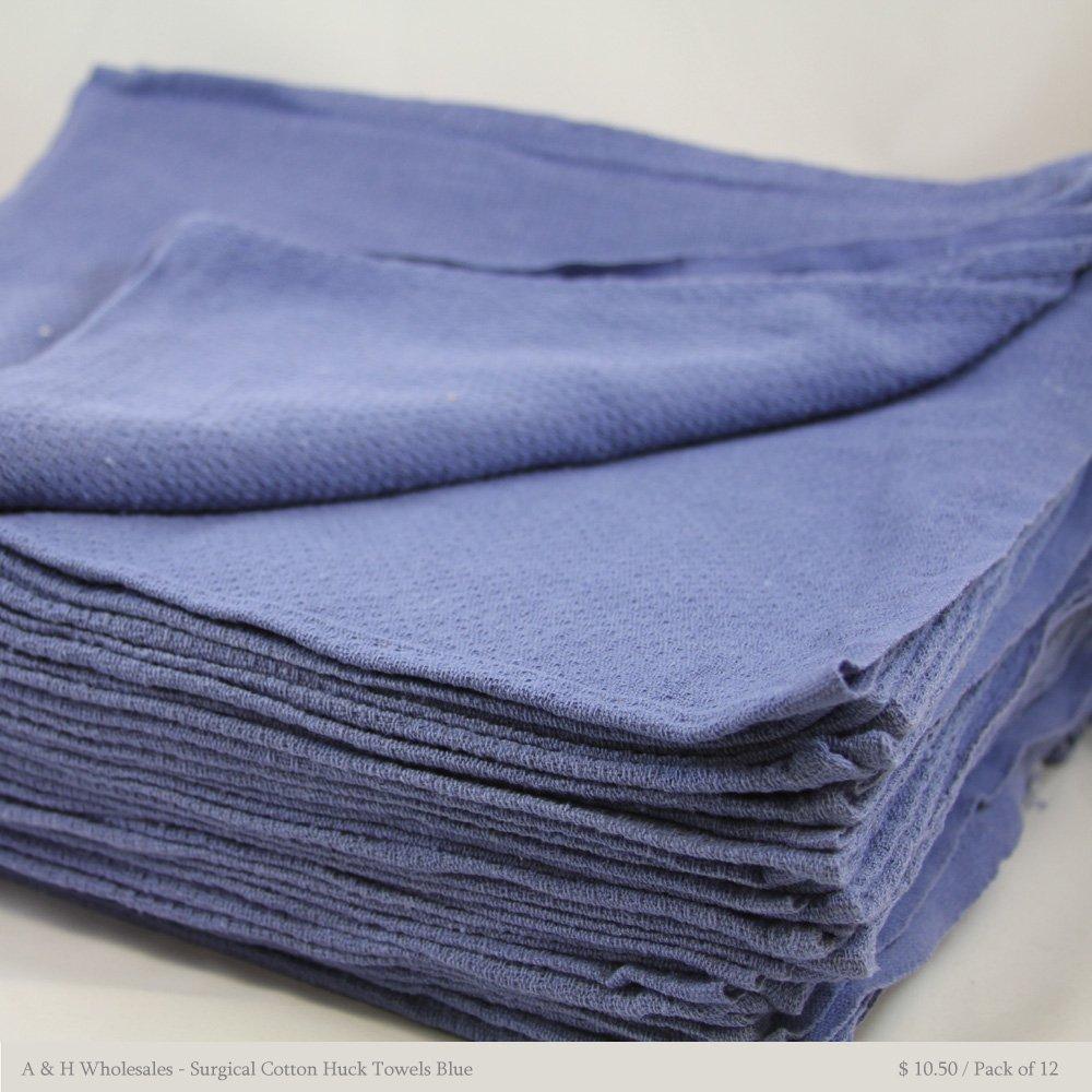 Surgical Cotton Huck Towels Blue 15'' X 25'' - Pack of 12 Pcs