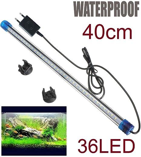 RESTAR luz para pecera Acuario 36 led 40 cm lampara Tubo Sumergible