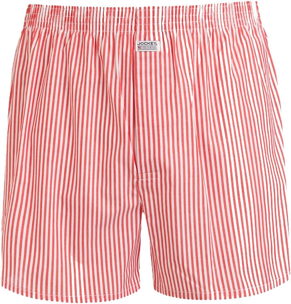 Jockey Striped Woven Mens Boxer Shorts Red//White