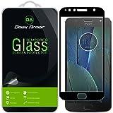 [2-Pack] Motorola Moto G5S Plus Screen Protector, (Full Screen Coverage) Dmax Armor [Tempered Glass] Anti-Scratch, Anti-Fingerprint, Bubble Free, (Black)