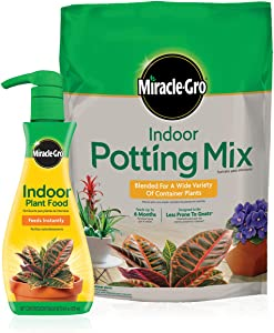 Miracle-Gro Indoor Potting Mix (6 qt.) and Indoor Plant Food (8 oz.) - Bundle for Growing and Fertilizing Houseplants