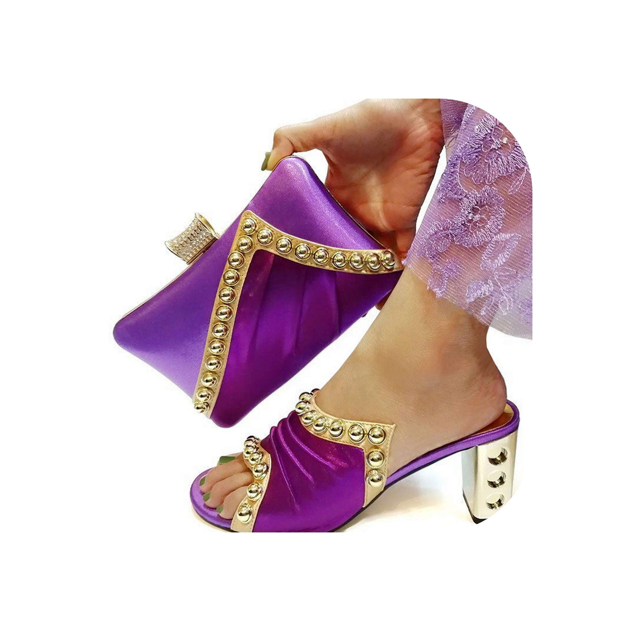 Moment Pink Color African Shoe and Bag Set High Heel Italian Shoe with Matching Bag Ladies Matching Women Shoe and Bag Nigerian Shoe,Purple,40