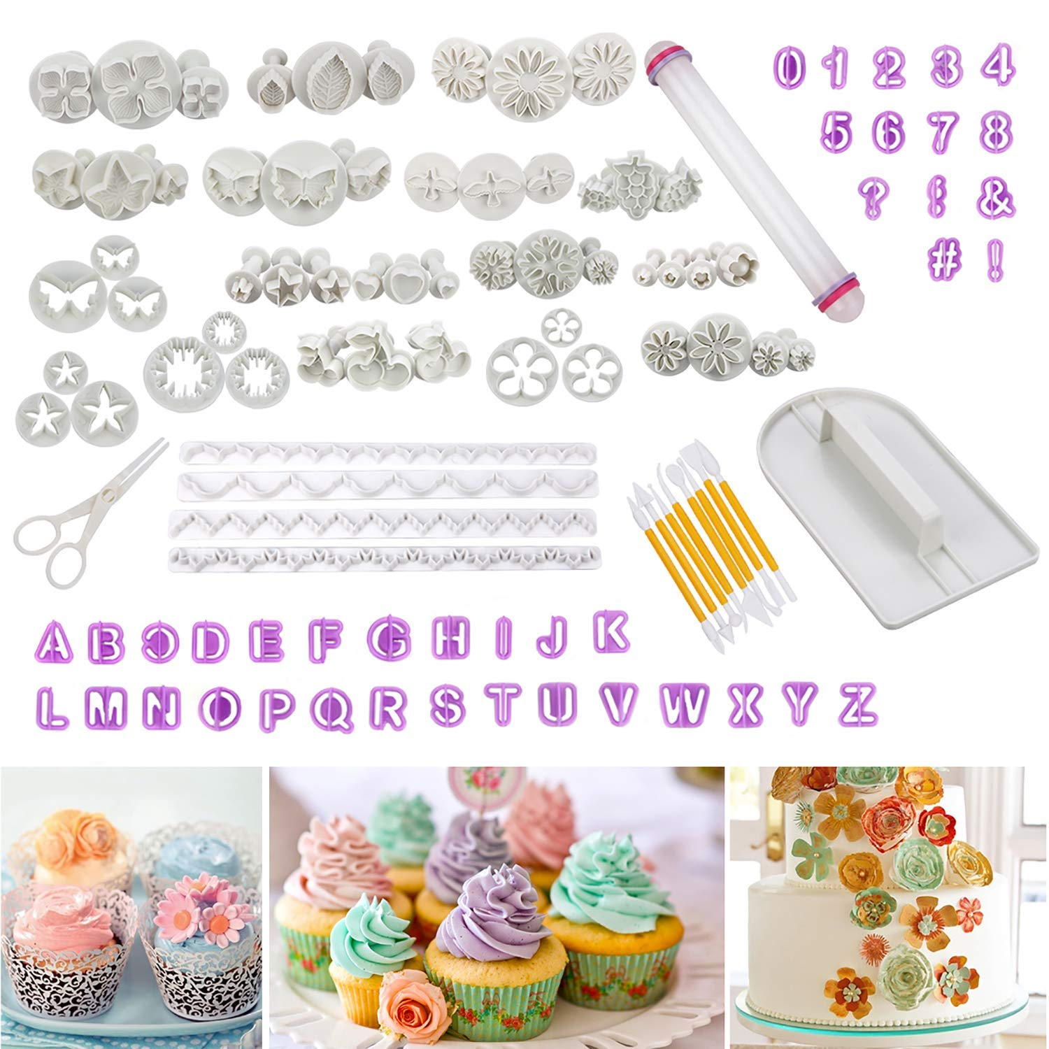 Fondant Tools Cadrim 109pcs Fondant Cutter Cake Decorating Kit Cake Baking Tools Sugarcraft Icing Decoration Kit Flower Modelling Fondant Tools