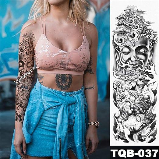 3pcsBig Brazo Manga Tatuaje boceto león Tigre Tatuaje Impermeable ...