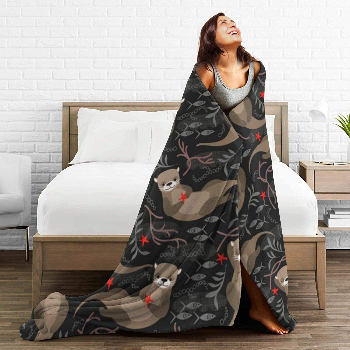 50 x 40 not Moonlight Significant Otters Flannel Blanket Super Soft and Comfortable Fuzzy Luxury Warm Plush Microfiber Blanket Suitable for Bed Sofa Travel Four Seasons Blanket
