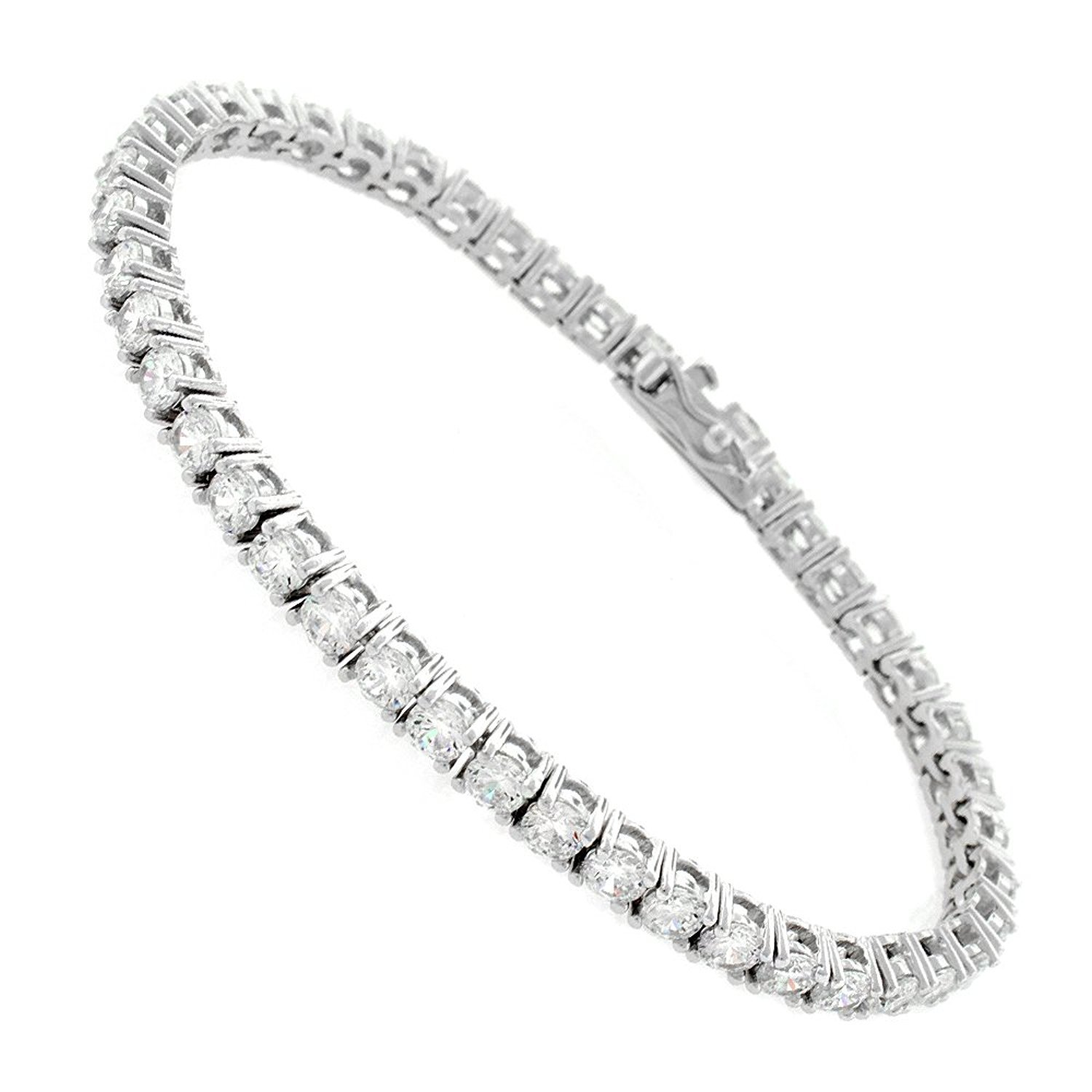 Sterling Silver 3mm Brilliant-Cut Clear Round CZ White Tennis Bracelet 6.5'', 7'', 8'' (7)