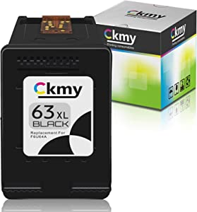 CKMY Remanufactured 63XL Ink Cartridge Replacement for HP 63 (1-Black) for Envy 4520 3634 4512 OfficeJet 3830 5252 4650 5258 4655 4652 5255 5222 5200 DeskJet 3636 1111 3630 1112 3637 3632 Printers