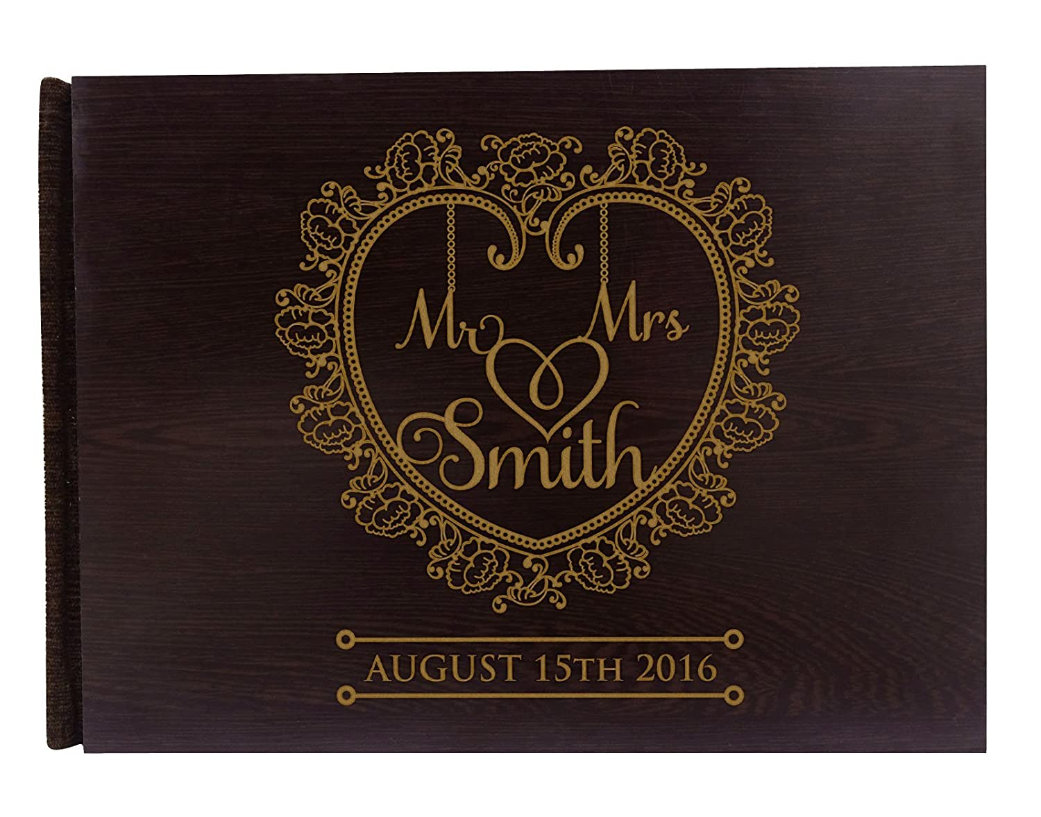 Personalized Mr & Mrs刻印木製結婚Guestbook Bride & Groom Advice Book素朴な結婚式ゲストブック – 50ページ Large - 9 x 12 Inches B01GZYQ4XQ  Large - 9 x 12 Inches