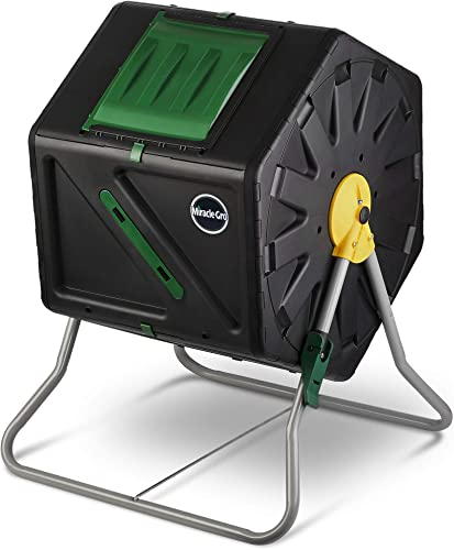 Miracle-Gro Single Chamber Outdoor Garden Compost Bin Large Volume, Compact Design 27.7 Gallon 105 Liter Capacity Heavy Duty, Easy to Assemble Tumbling Composter