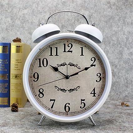 YESUN 8 Pulgadas Grande Reloj De Mesa De La Vendimia Sonido Creativo Despertador Digital De Metal