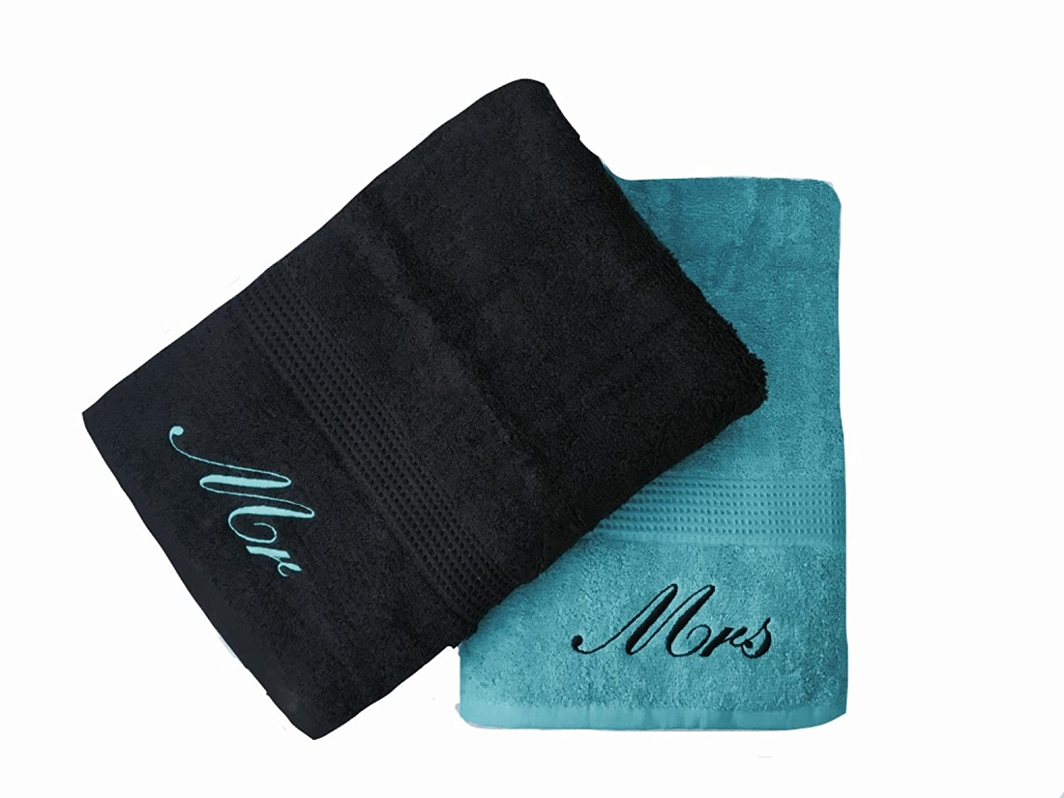 Niche Embroidery Embroidered Mr & Mrs Teal and Black Bath Towels Pair