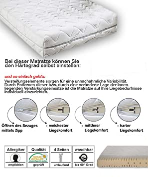 lifestyle4living Colchón de Espuma fría, dureza Regulable, en el tamaño de 90 x 200 cm: Amazon.es: Juguetes y juegos