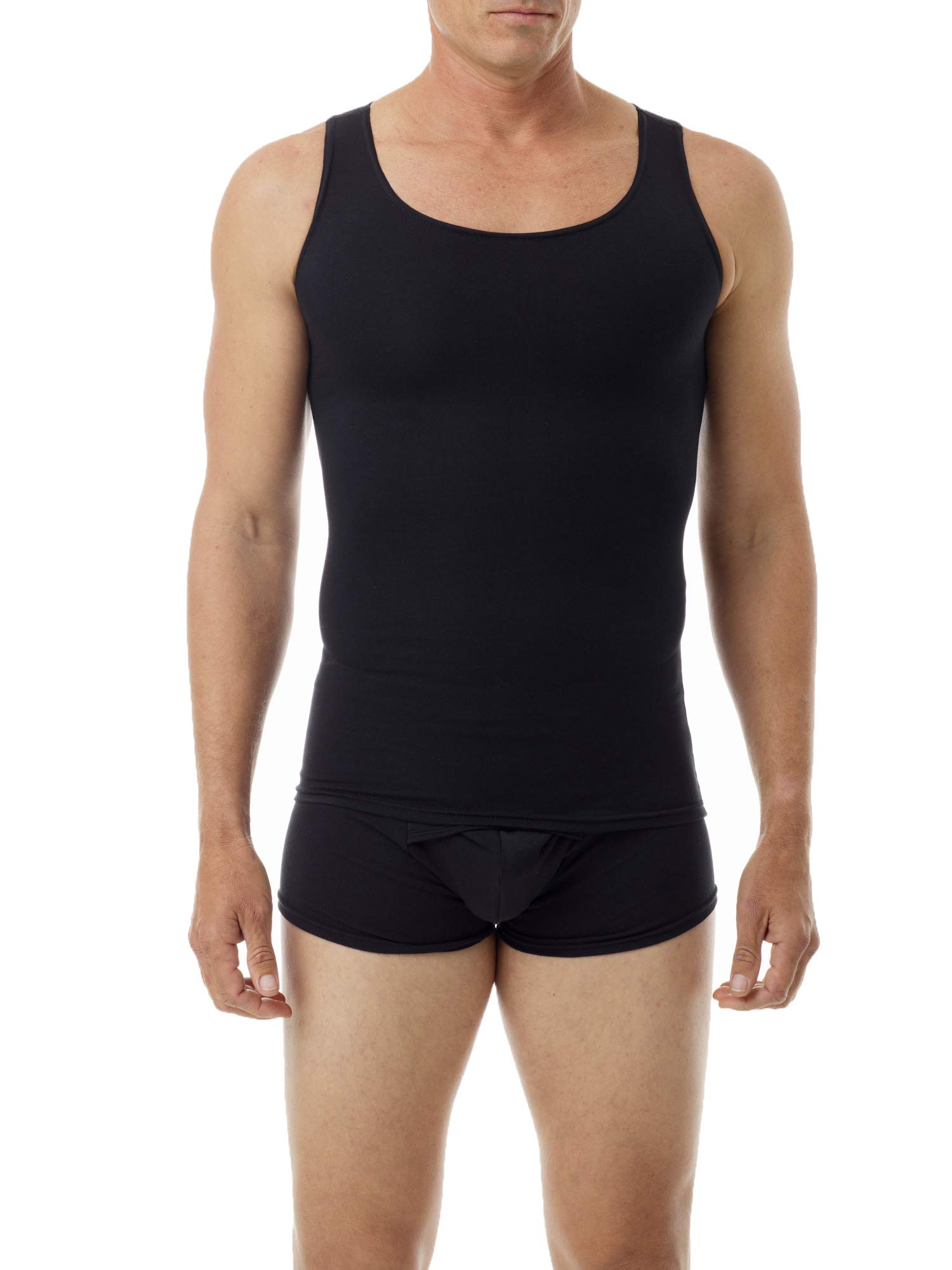 Underworks Mens Cotton Spandex Compression Tank 3-Pack, Small, Black by Underworks (Image #1)