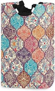 senya Colorful Boho Moroccan Laundry Basket Collapsible Laundry Hamper with Handle Foldable Laundry Bin
