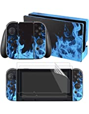 eXtremeRate Nintendo Switch Sticker Skin Folie Abziehbild Aufkleber Faceplates Decal Klebefolie+2 Displayschutzfolie für Nintendo Switch Console&Joy-Con&Dock&Grip(Blaue Feuer)