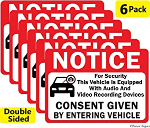 "CLEVER SIGNS 6-Pack Notice Vehicle is Equipped with Audio and Video Recording Devices Consent by Entering Car Sticker-Double Sided 3.5""x2.5"" Vinyl Decal, UV Protected, Waterproof, Indoor&Outdoor Use"