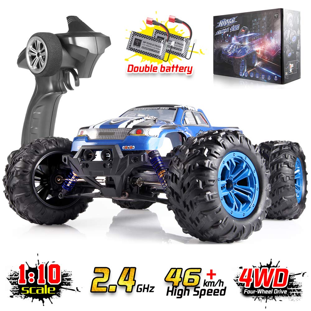 Soyee 1:10 RTR High Speed 46km/h RC Car 4WD 2.4GHz Remote Control Monster Truck All Terrain Hobby Grade Off-Road Waterproof Vehicle Toys 1600mAh Batteries x2 + UL Adapter with Balance Charger