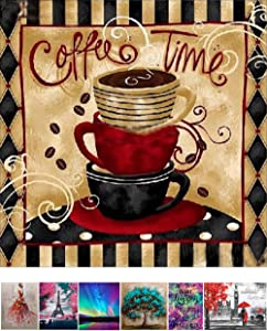 DIY 5D Diamond Painting by Number Kits Full Drill Diamond Embroidery Dotz Kit Home Wall Decor -11.8x11.8inch Coffee time