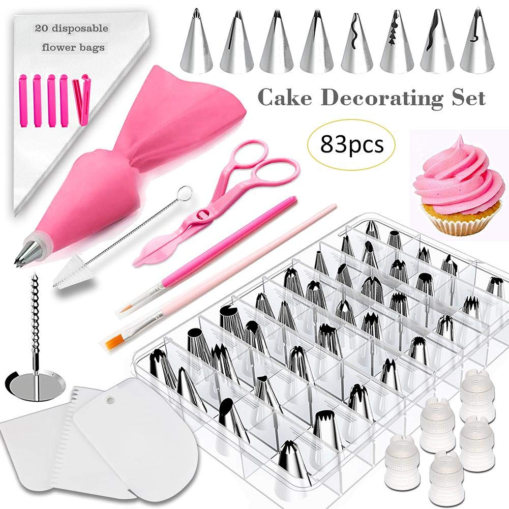 Bobody 83PCS Cake Molds, Cake Spinner Turntable Rotating Stand Baking Decoration Supplies and Decorating Kit 83-in-1 by Bobody