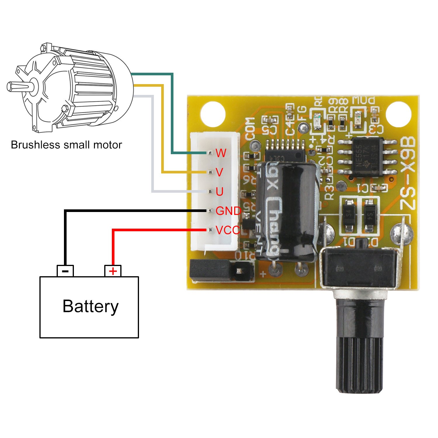 Drok Mini Bldc 3 Phase Brushless Sensorless Motor Driver Control Dc Circuit 5v 12v 15w Speed Regulator Controller With Knob
